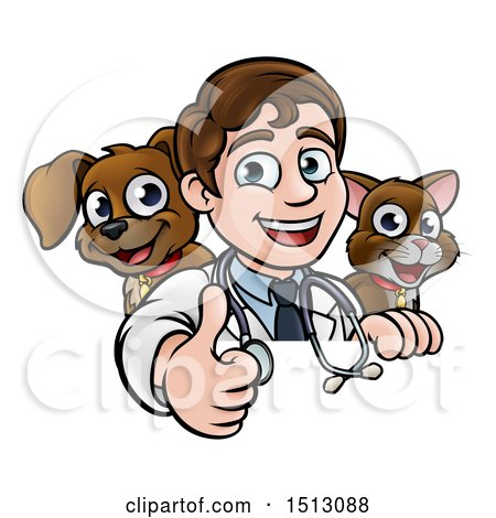 Clipart of a Cartoon Friendly Male Veterinarian Giving a Thumb up over a Sign with a Cat and Dog Behind Him - Royalty Free Vector Illustration by AtStockIllustration