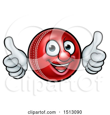 Clipart of a Cricket Ball Mascot Character Giving Two Thumbs up - Royalty Free Vector Illustration by AtStockIllustration
