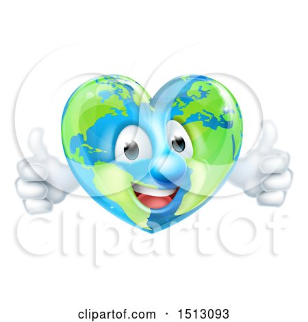 Clipart of a Happy Heart Shaped Earth Globe Character Giving Two Thumbs up - Royalty Free Vector Illustration by AtStockIllustration