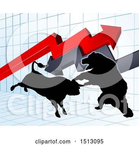 Clipart of a Silhouetted Bear Vs Bull Stock Market Design with Arrows over a Graph - Royalty Free Vector Illustration by AtStockIllustration