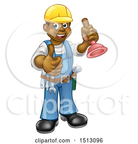Clipart of a Full Length Happy Black Male Plumber Holding a Plunger and Giving a Thumb up - Royalty Free Vector Illustration by AtStockIllustration