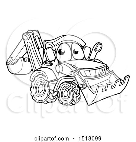 Clipart of a Lineart Bulldozer Digger Mascot Character - Royalty Free Vector Illustration by AtStockIllustration