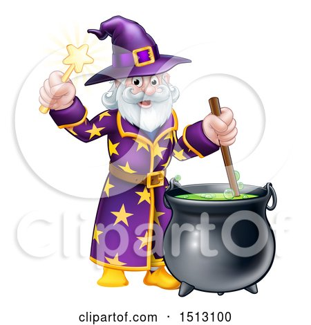Clipart of a Happy Old Bearded Wizard Mixing a Potion and Holding a Wand - Royalty Free Vector Illustration by AtStockIllustration