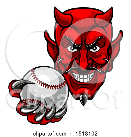 Clipart of a Grinning Evil Red Devil Holding out a Baseball in a Clawed Hand - Royalty Free Vector Illustration by AtStockIllustration