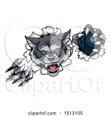 Clipart of a Ferocious Gray Wolf Slashing Through a Wall with a Bowling Ball - Royalty Free Vector Illustration by AtStockIllustration