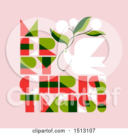 Clipart of a Dove and Merry Christmas Text on Pink - Royalty Free Vector Illustration by elena
