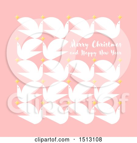 Clipart of a Merry Christmas and Happy New Year Greeting with Doves and Stars on Pink - Royalty Free Vector Illustration by elena