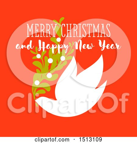 Clipart of a Merry Christmas and Happy New Year Greeting with a Dove and Branch on Red - Royalty Free Vector Illustration by elena