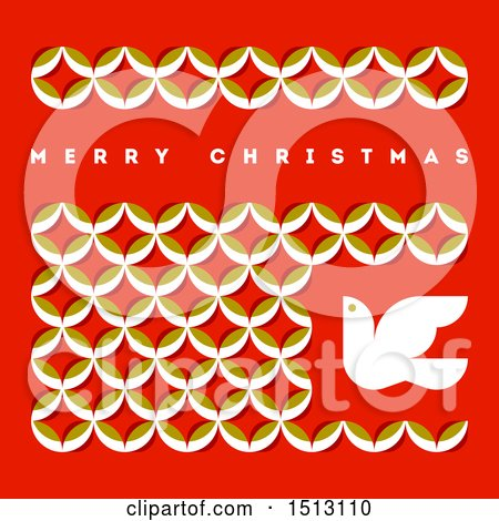 Clipart of a Merry Christmas Greeting with Leaves and a Dove on Red - Royalty Free Vector Illustration by elena