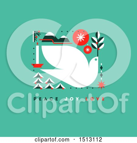 Clipart of a Christmas Dove with Peace Joy Love Text on Green - Royalty Free Vector Illustration by elena