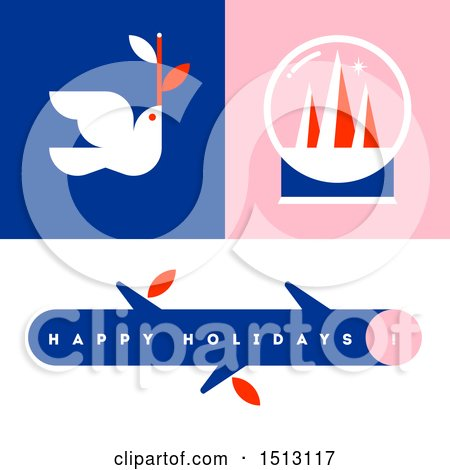 Clipart of a Christma Dove, Snow Globe and Branch Greeting - Royalty Free Vector Illustration by elena