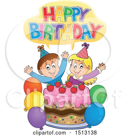 Clipart of a Happy Birthday Greeting over a Boy and Girl Celebrating at a Birthday Party with Balloons and a Cake - Royalty Free Vector Illustration by visekart