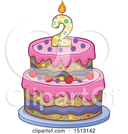 Clipart of a Layered Second Birthday Party Cake - Royalty Free Vector Illustration by visekart