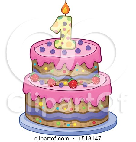 Layered First Birthday Party Cake Preview Clipart