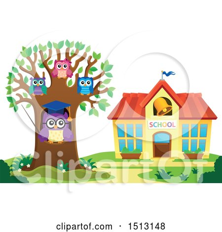 Clipart of a Teacher Owl and Students in a Tree near a School House - Royalty Free Vector Illustration by visekart