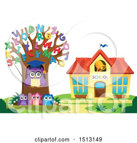 Clipart of a Teacher Owl in an Alphabet Letter Tree and Students near a School House - Royalty Free Vector Illustration by visekart