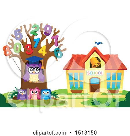 Clipart of a Teacher Owl in a Number Tree and Students near a School House - Royalty Free Vector Illustration by visekart