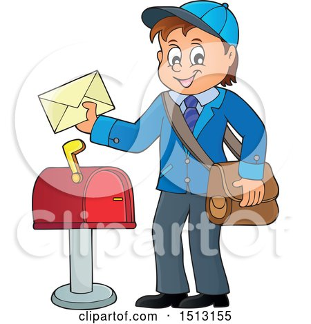 Clipart of a Happy Mail Man Holding an Envelope over a Mailbox - Royalty Free Vector Illustration by visekart