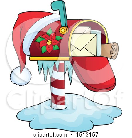 Clipart of a Christmas Mailbox with a Santa Hat - Royalty Free Vector Illustration by visekart