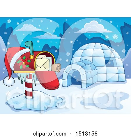 Clipart of a Christmas Mailbox with a Santa Hat by an Igloo - Royalty Free Vector Illustration by visekart
