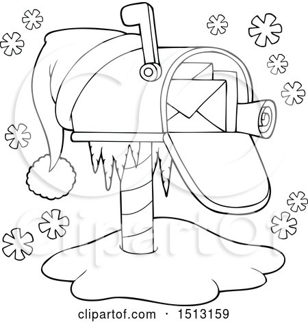Clipart Of A Black And White Christmas Mailbox With A Santa Hat