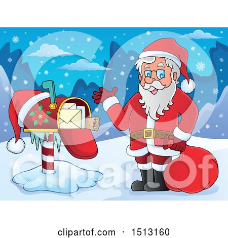 Clipart of Santa Claus by a Christmas Mailbox - Royalty Free Vector Illustration by visekart