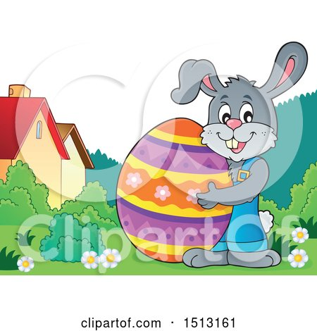 Clipart of a Happy Bunny Rabbit Hugging a Giant Easter Egg - Royalty Free Vector Illustration by visekart