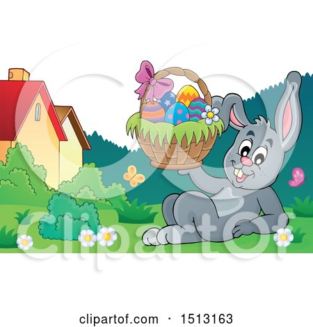Clipart of a Happy Bunny Rabbit Holding an Easter Basket - Royalty Free Vector Illustration by visekart