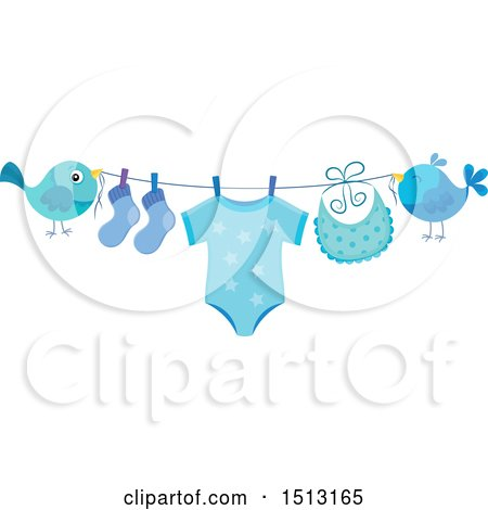Clipart of a Pair of Birds Holding a Clothesline with a Blue Baby Boy Onesie, Socks and Bib - Royalty Free Vector Illustration by visekart
