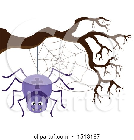 Clipart of a Purple Spider and Web Hanging from a Bare Tree Branch - Royalty Free Vector Illustration by visekart