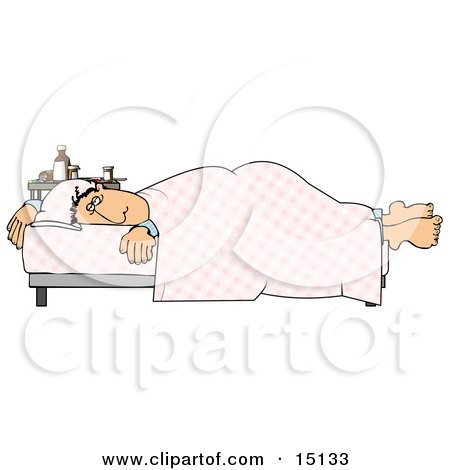 Ill Man Lying On A Hospital Bed Near A Table Of Medicine Clipart Graphic