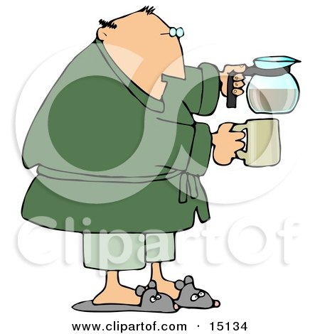 Tired Man Just Waking Up In The Morning, Wearing Slippers, Pajamas And A Green Robe, Holding A Coffee Pot And A Mug Posters, Art Prints