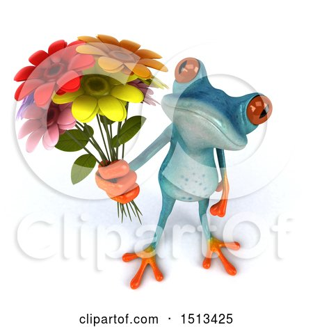 Clipart of a 3d Blue Frog Holding up Flowers, on a White Background - Royalty Free Illustration by Julos