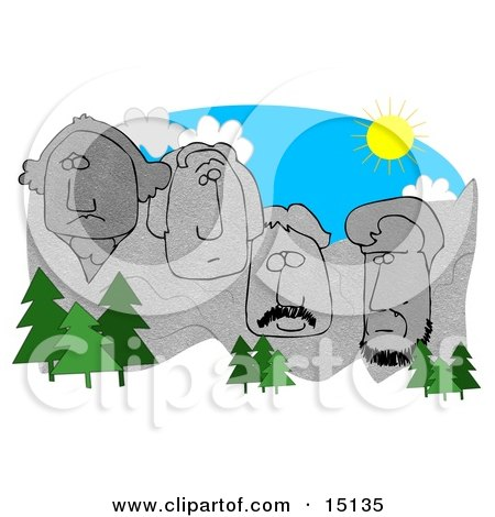 Evergreen Trees In Front Of George Washington, Thomas Jefferson, Theodore Roosevelt, And Abraham Lincoln Sculptures On Mount Rushmore On A Sunny Day, South Dakota Clipart Graphic by djart