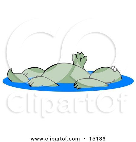 Relaxed Green Dinosaur Floating On His Back In A Swimming Pool And Waving  Posters, Art Prints