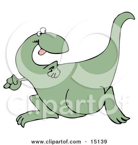 Goofy Green Dinosaur Running And Looking Back Over His Shoulder While Playing A Game Of Tag Or Chase  Posters, Art Prints