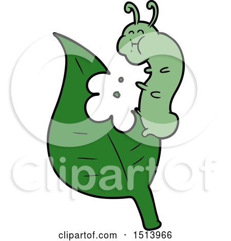 Cartoon Caterpillar Munching Leaf by lineartestpilot