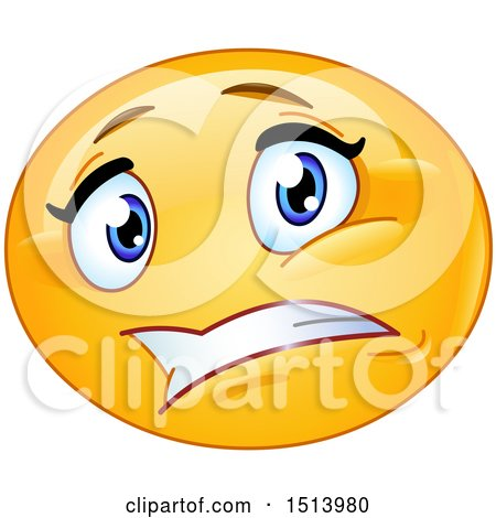 Clipart of a Yellow Female Emoji Face Expressing Worry - Royalty Free Vector Illustration by yayayoyo