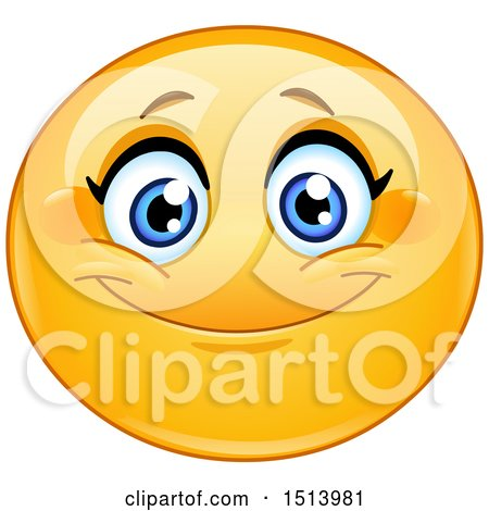 Clipart of a Yellow Female Emoji Face Smiling - Royalty Free Vector Illustration by yayayoyo