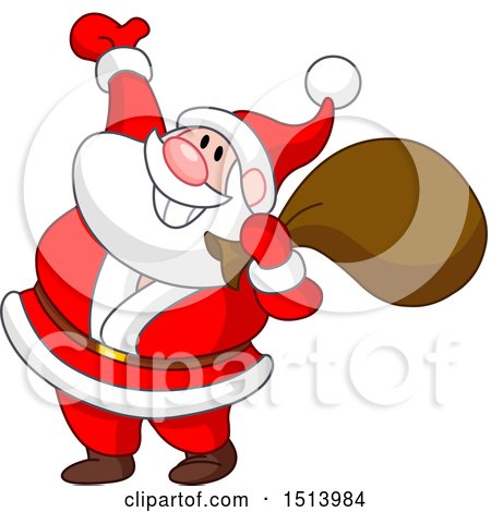Clipart of a Cartoon Happy Christmas Santa Claus Presenting - Royalty Free Vector Illustration by yayayoyo