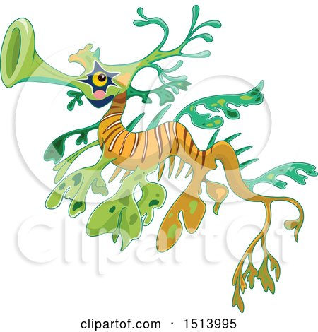 Clipart of a Green and Orange Sea Dragon Fish - Royalty Free Vector Illustration by Pushkin