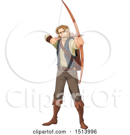 Clipart of a Male Archer, Robin Hood, Aiming an Arrow - Royalty Free Vector Illustration by Pushkin
