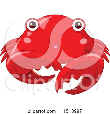 Clipart of a Cute Red Crab - Royalty Free Vector Illustration by Pushkin