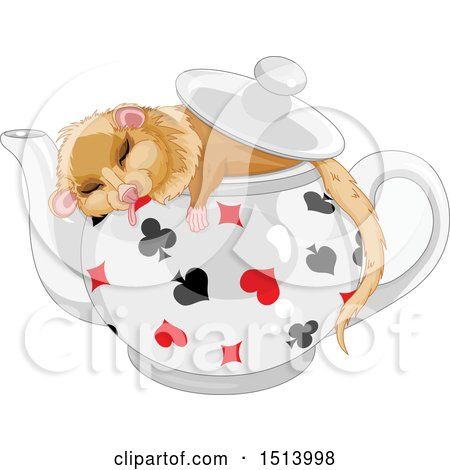 Clipart of a Dormouse Sleeping in a Pot - Royalty Free Vector Illustration by Pushkin