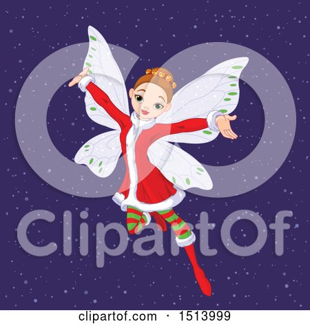 Clipart of a Female Christmas Angel in the Snow - Royalty Free Vector Illustration by Pushkin