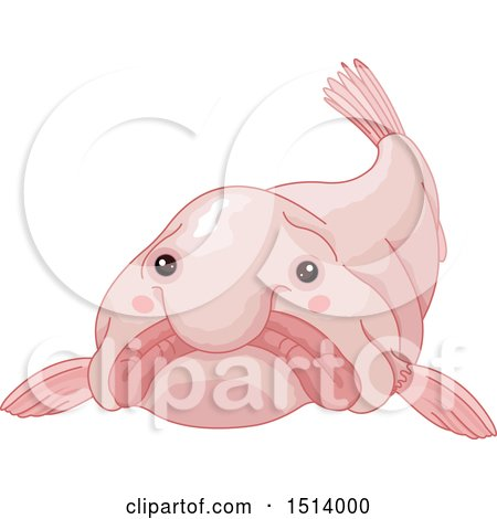 Clipart of a Pink Blob Fish - Royalty Free Vector Illustration by Pushkin