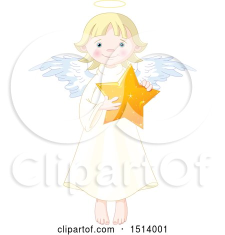 Clipart of a Cute Female Angel Holding a Star - Royalty Free Vector Illustration by Pushkin