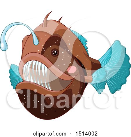 Clipart of a Brown and Blue Angler Fish - Royalty Free Vector Illustration by Pushkin