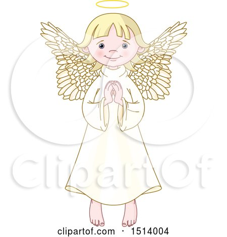 Clipart of a Cute Female Angel Praying - Royalty Free Vector Illustration by Pushkin