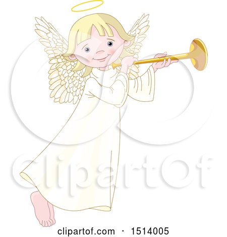 Clipart of a Cute Female Angel Holding a Horn - Royalty Free Vector Illustration by Pushkin